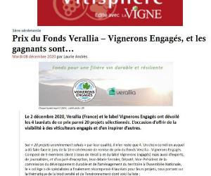 PRESSE-Prix du Fonds Verallia- Vignerons Engagés: Castelbarry lauréat